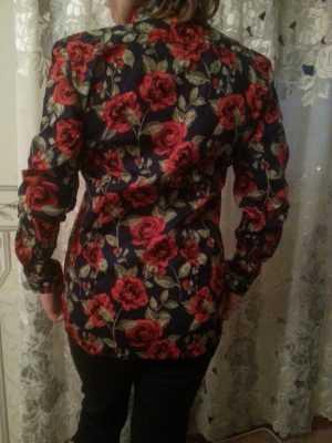 Хлопковая блузка с длинным рукавом