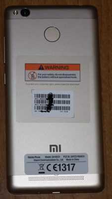 Задняя часть Xiaomi Redmi 3s